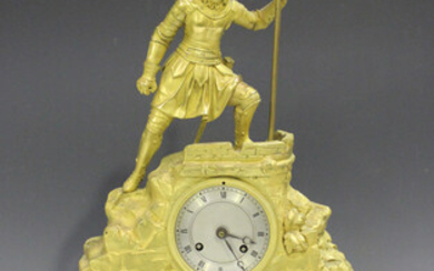 A 19th century French ormolu mantel clock, the eight day movement with silk suspension, striking on