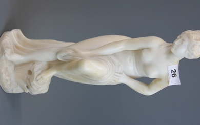 A 19th century carved marble figure of a classical nude, H. 40cm.