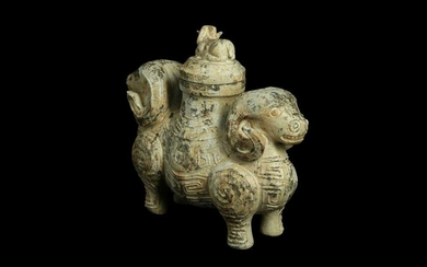 A CHINESE POTTERY 'DOUBLE RAM' VASE