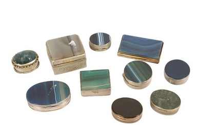 A COLLECTION OF TEN 19TH CENTURY AND LATER AGATE, SILVER AND...