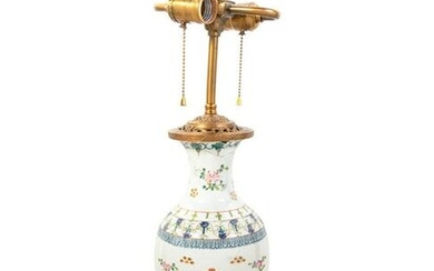 A Chinese Export Style Porcelain Vase Mounted as a Lamp