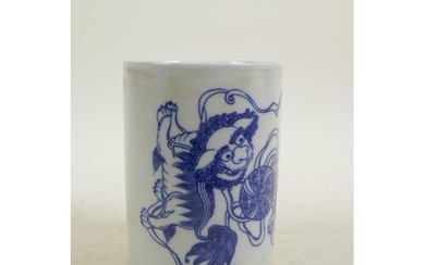A Chinese blue and white porcelain brush pot decorated with ...