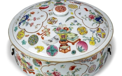 A Chinese porcelain famille rose circular box and cover, Republic period, decorated to the sides and cover with floral panels on a ground of auspicious objects and vases of flowers, 25cm diameter
