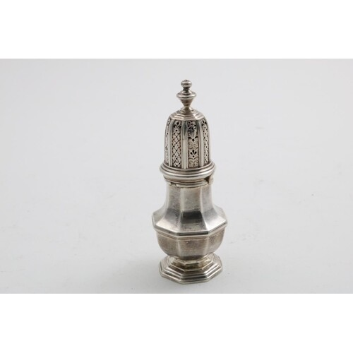 A GEORGE I BRITANNIA STANDARD SMALL CASTER with an octagonal...