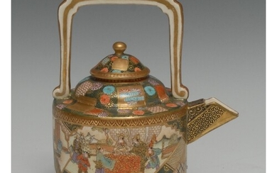 A Japanese satsuma sake pot, painted in polychrome with figu...
