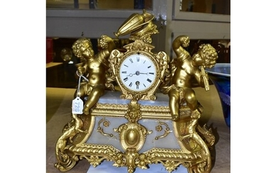 A LATE 19TH CENTURY GILT METAL AND ALABASTER MANTEL CLOCK, t...