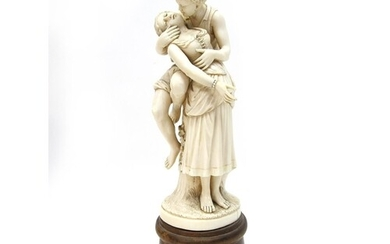 A Late XIX Century Ivory Figural Group, possibly Dieppe, car...