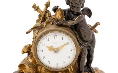 A Louis XV Style Gilt and Patinated Bronze and Marble
