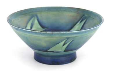 A MOORCROFT FOOTED FLARED BOWL decorated in shades