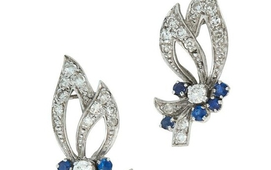 A PAIR OF VINTAGE SAPPHIRE AND DIAMOND EARRINGS in