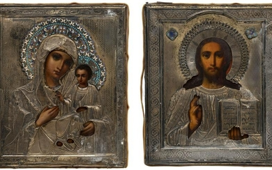 A PAIR OF WEDDINGS ICONS SHOWING CHRIST PANTOKRATOR AND