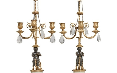 A Pair of Louis XVI White Marble, Gilt, and Patinated Bronze Figural Three-Light Candelabra, Possibly Russian, Circa 1785