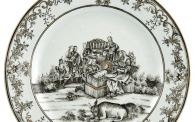 A Rare Chinese Grisaille Decorated Porcelain 'Nativity' Plate