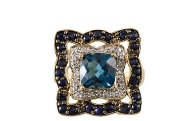 A TOPAZ, DIAMOND AND SAPPHIRE CLUSTER RING, mounted in 9ct g...