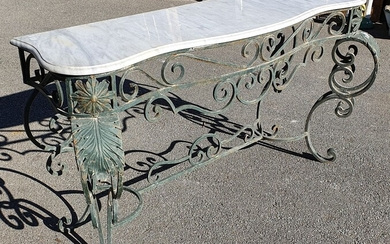 A WROUGHT IRON BASED MARBLE TOP CONSOLE TABLE