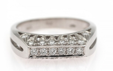 NOT SOLD. A diamond ring set with numerous brilliant-cut diamonds, mounted in 18k white gold....