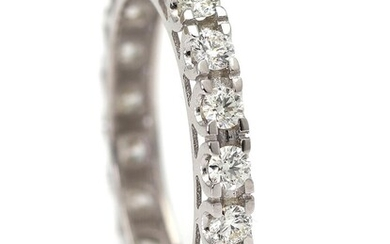NOT SOLD. A diamond ring set with numerous diamonds weighing a total of app. 1.10 ct., mounted in 14k white gold. Size 53. – Bruun Rasmussen Auctioneers of Fine Art
