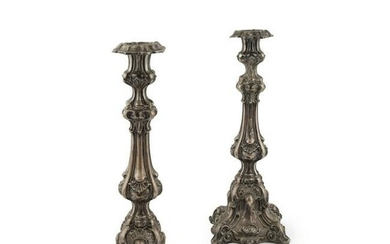 A pair of large Continental candlesticks