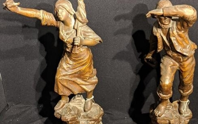 A pair of large French spelter figures