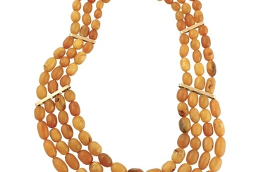 AMBER AND GOLD NECKLACE AND BRACELET