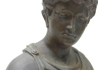 AN OLD CAST IRON BUST OF ROMAN EMPEROR