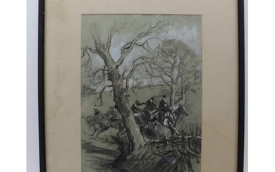 ANN EARLY 20TH CENTURY CHARCOAL & WATERCOLOUR DRAWING 'Point...