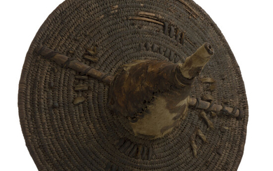 African Tribal Wicker and Leather Shield 19th c
