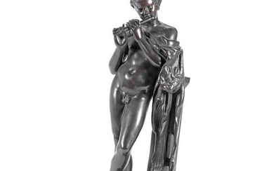 After the Antique: A late 19th century French patinated bronze figure of 'Hadrian's' Faun
