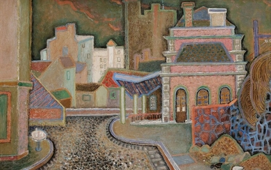Alex-Charles CHARTIER (1894-1957)La Gare ceinture ouest, 1957Oilon isorel.Signed and dated lower right.29 x 39 cm