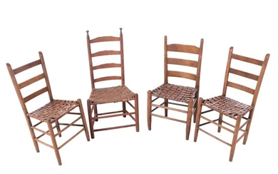 American Primitive Mixed Woods Ladderback Side Chairs, 19th Century
