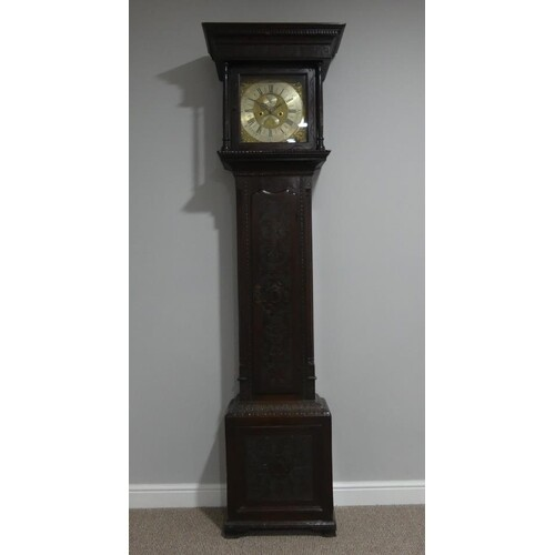 An 18thC oak 8-day Longcase Clock, the brass face with a sil...