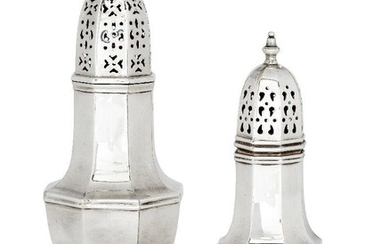 An Edwardian silver sugar caster, London, c.1905, Horace Woodward & Co., of octagonal baluster form with pierced, domed cap, 21cm high, together with a smaller silver plated example, and silver plated example of similar design, 17cm high, weighable...