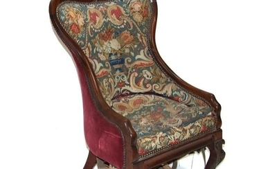 An early 19th century rosewood chair with needlework tapestr...