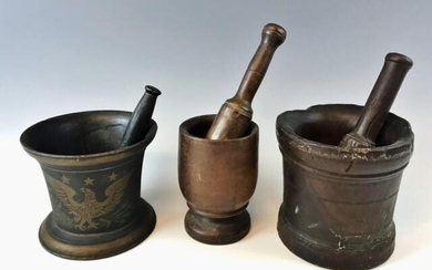 Antique Treen and Iron Mortar & Pestles (6pc)