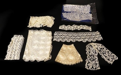 Assorted Early 20th Century Lace, including a pair of Honiton...