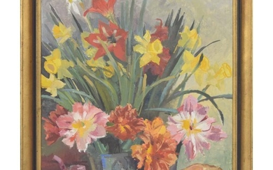 Awid Jorm (20th/21st Century) - a still life of flowers and ...