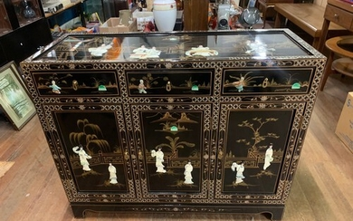 Black lacquer, mother of pearl, oriental, 3 drawer/3 door si...
