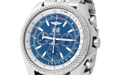 Breitling. Large and Very Rare Bentley Chronograph Wirstwatch in Steel, With Blue Dial, Full-Set