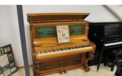 Brinsmead (c1855) An upright piano in a birch case with carv...