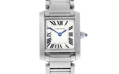 CARTIER - a lady's stainless steel Tank Francaise bracelet watch.