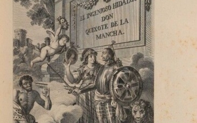 CERVANTÈS (Miguel de). El ingenioso hidalgo Don Quixote de la Mancha. Madrid, Joaquin Ibarra, 1780. 4 vols. in-4, lemon morocco, smooth spine, title-piece and bookbinder's signature on tail of green calf, red mosaic tomato framed with a large gilt...