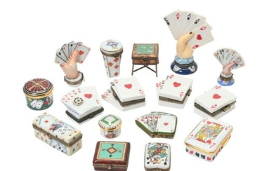 Collection of Painted Porcelain Novelty Boxes Including