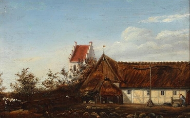 NOT SOLD. Danish school, 19th century: A thatched farm near a church. Unsigned. Oil on cardboard. 17 x 22.5 cm. – Bruun Rasmussen Auctioneers of Fine Art
