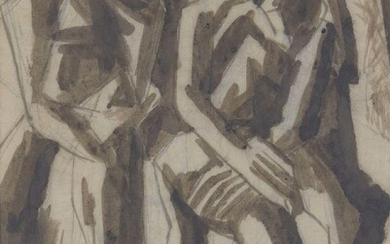 David Bomberg, British 1890-1957 - Embrace, 1919; ink, wash and pencil on paper, 25.2 x 18.5 cm (ARR) Provenance: Sotheby's, London, 20th Century British Art, 18th March 2008, lot 125; private collection, purchased from the above Note: with thanks...