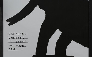ELEPHANT CHOOSES TO STAND ON YOUR CAR, A LITHOGRAPH BY DAVID SHRIGLEY