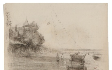 Edmond J. Fitzgerald Double-Sided Charcoal Drawing, Mid-20th Century