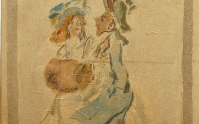 French School, late 18th/early 19th century- Fop and lady companion; wash and pencil, 24.5 x 17.5 cm