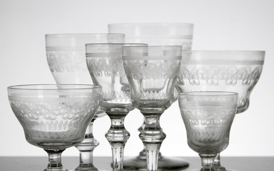 GLASS SERVICE, 87 dlr. , Clear glass mass, pantographed geometric decoration, occasional label marking; Kosta, Sweden, first half of the 20th century.