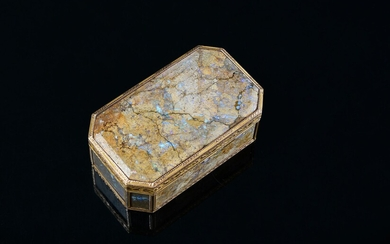 GOLDEN TABATIER, VIENNA, late 18th century. Rectangular shape with cut sides, decorated on each side with an agate fossil plaque with opal inclusions. Cage frame finely chiseled with a leafy frieze on an amatized background. Small accidents...