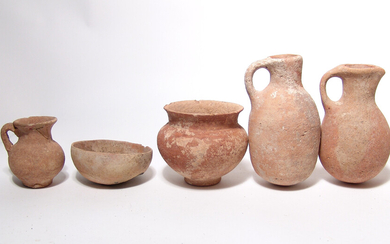 Group of 5 Holy Land pottery vessels of various types